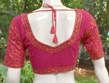 Block Printed Cotton Blouse with all over Sequins  - Size 36