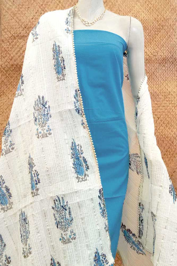 Elegant Cotton Dupatta with Block Print, Pintuck &  stitched gota