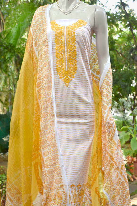 Hand Block Printed Cotton Suit with Embroidery work