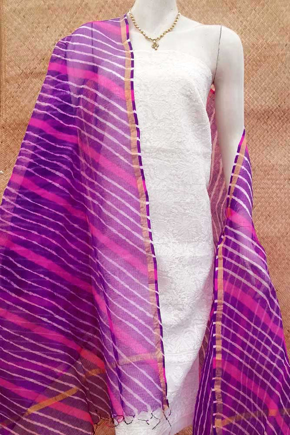 Elegant Hand-Dyed Kota silk dupatta with Chikan work kurta fabric