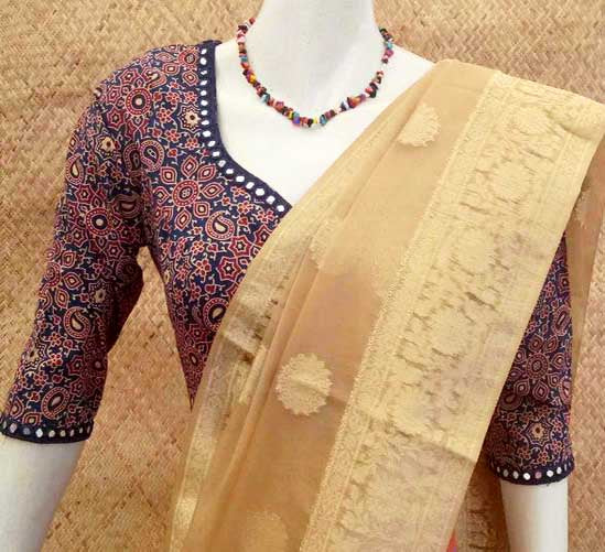 Block Printed Cotton Blouse with mirror work on neck and sleeves