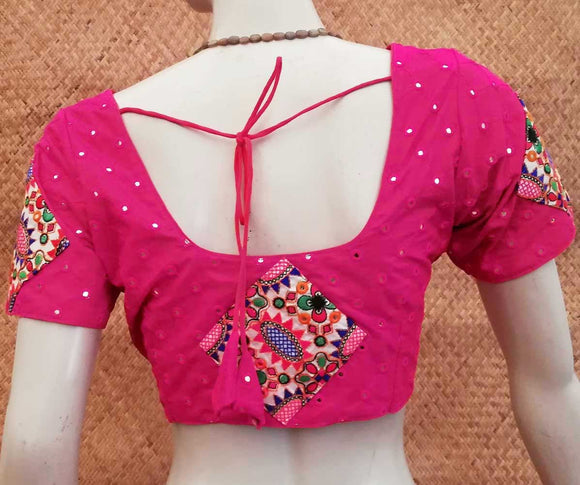 Art Silk Blouse with Mirror and patch work