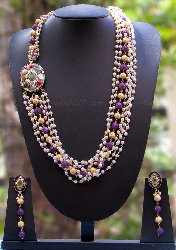 Elegant Pearl & Polki Necklace Set