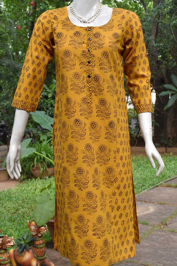 Bagh Block Printed Cotton Long Kurta - size 38