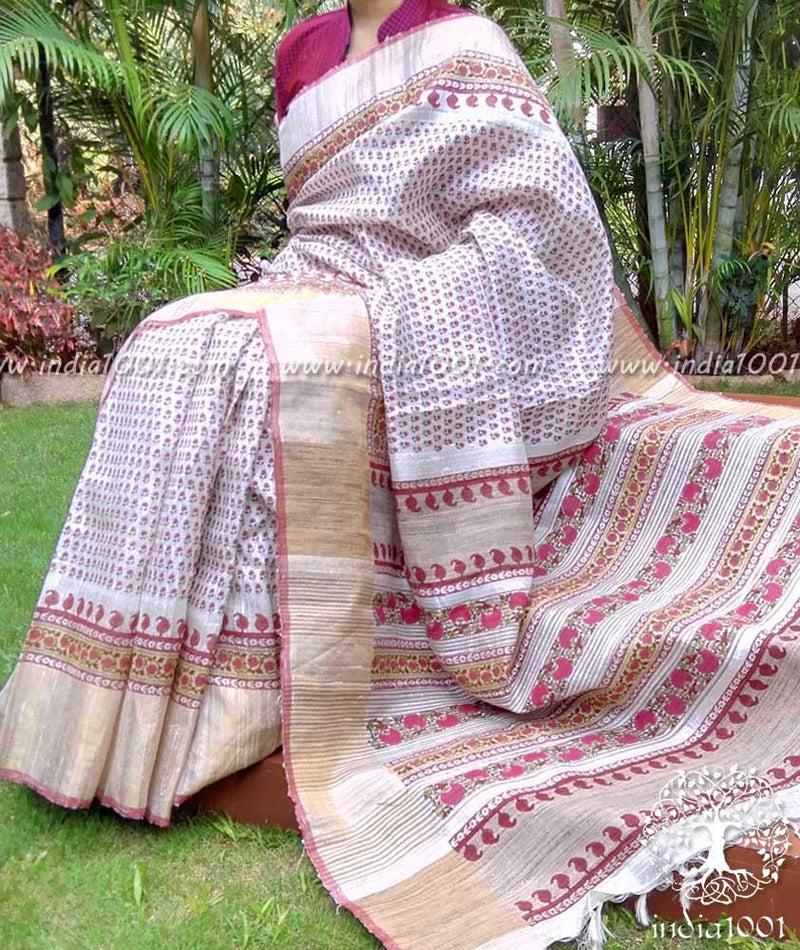 Elegant Dupion & Geecha Silk Saree with Mughal Art Patterns
