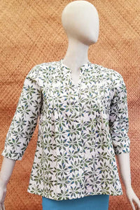 Elegant Block Printed Cotton Short Kurta