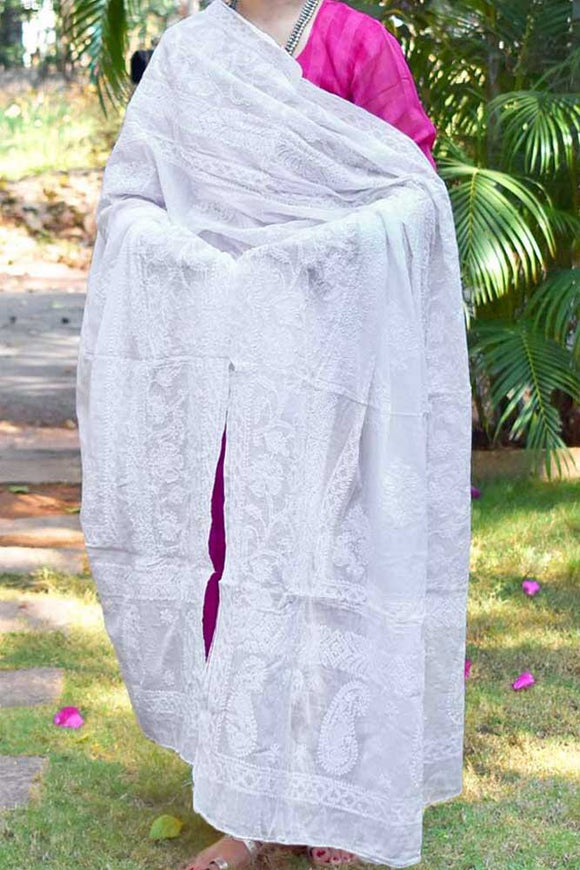 Hand Embroidered Heavy Chikankari work Mul Cotton Dupatta