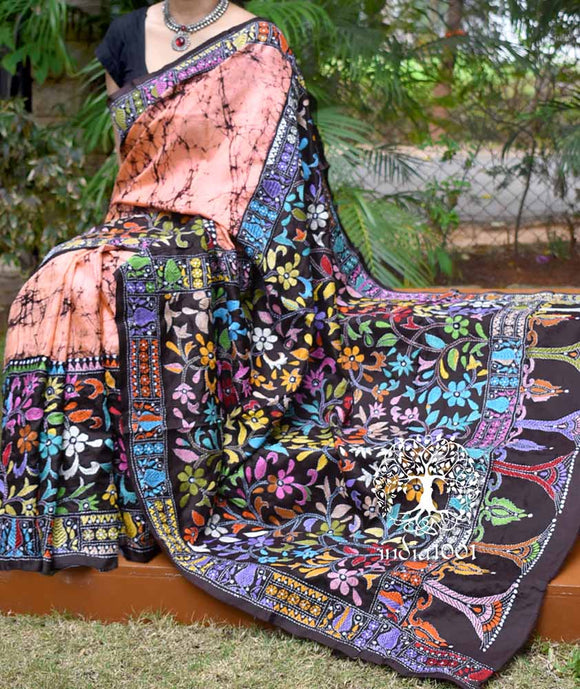 Handwoven Pure Silk Saree with Wax Batik & Kantha work