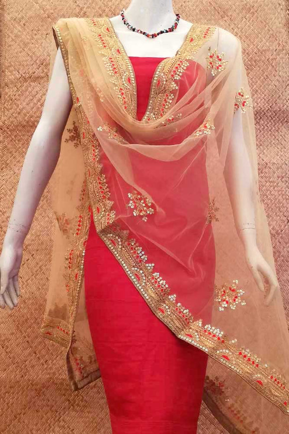 Beautiful Net dupatta with sequins & embroidery