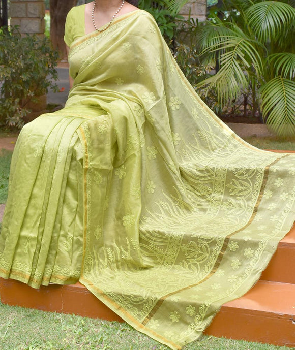 Elegant Ombre-Dyed Chanderi Silk Cotton Saree with Lucknowi Chikankari work