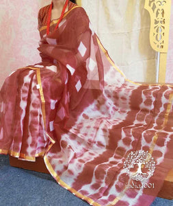 Elegant Kota Silk Saree with Clamp dyeing (without BP)