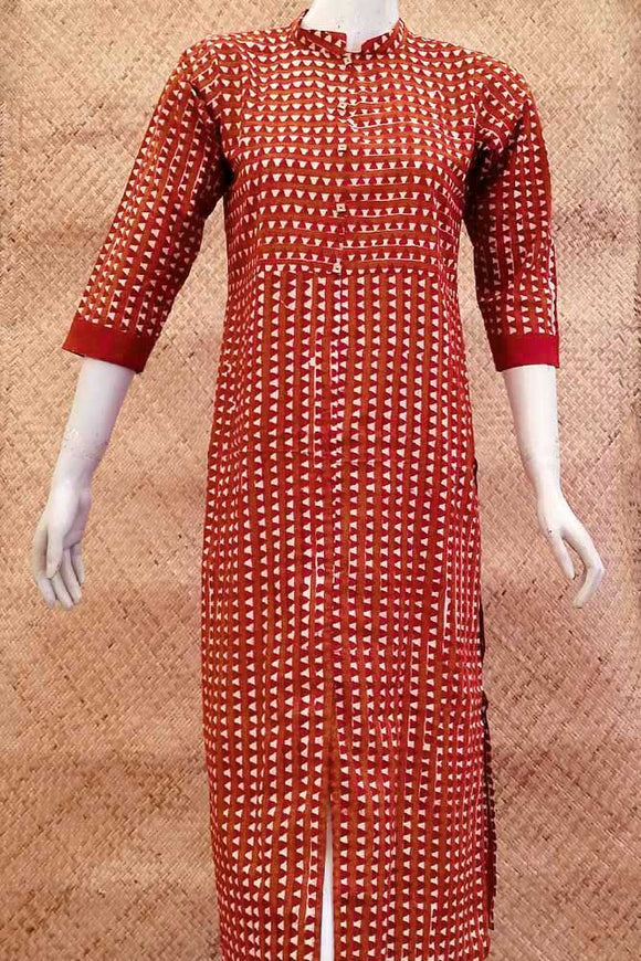 Elegant Block Printed Cotton  Long Kurta
