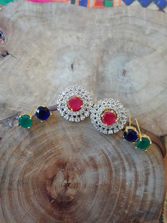 American Diamond Earrings with Changeble Stones
