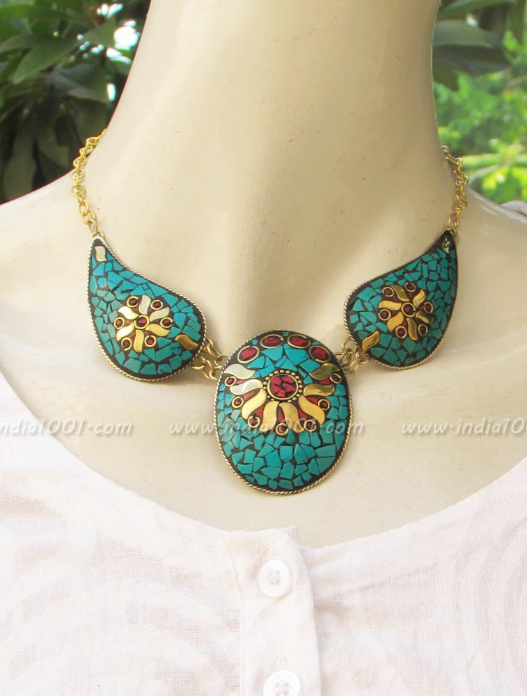 Statement Necklace with Mosaic patterns