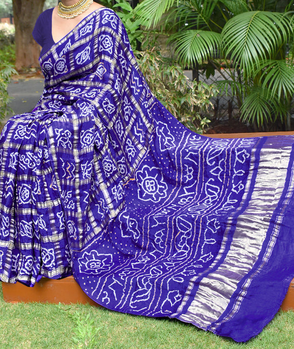 Hand-Crafted Gharchola Pure Gajji Silk Checks Saree