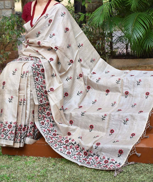 Beautiful Tussar Silk Saree with embroidery