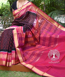 Elegant & Fine Kora Silk cotton Ikkat Saree