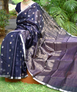 Elegant Kora Silk Cotton saree with woven motifs with all over Tissue weaving
