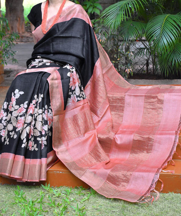 Elegant Block & Screen Printed Tussar Silk Saree with Woven Zari border