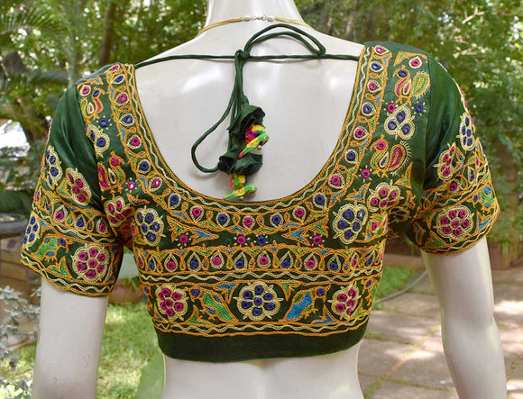 Beautiful Mashru Silk Fabric Blouse with Kutch Ahir Work - size 40