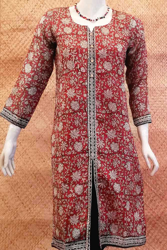 Block Printed Chanderi  Kurta