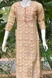 Block Printed Cotton Kurta with pintucks & gota work