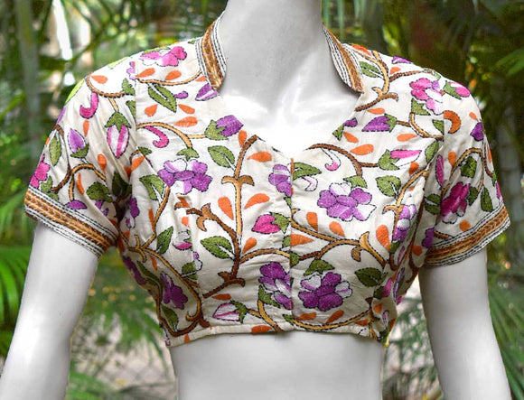 Hand Embroidered Kantha  Blouse Size - 38 , 42