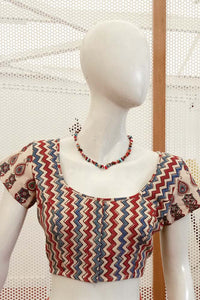 Block Printed  Cotton Blouse - Size- 36