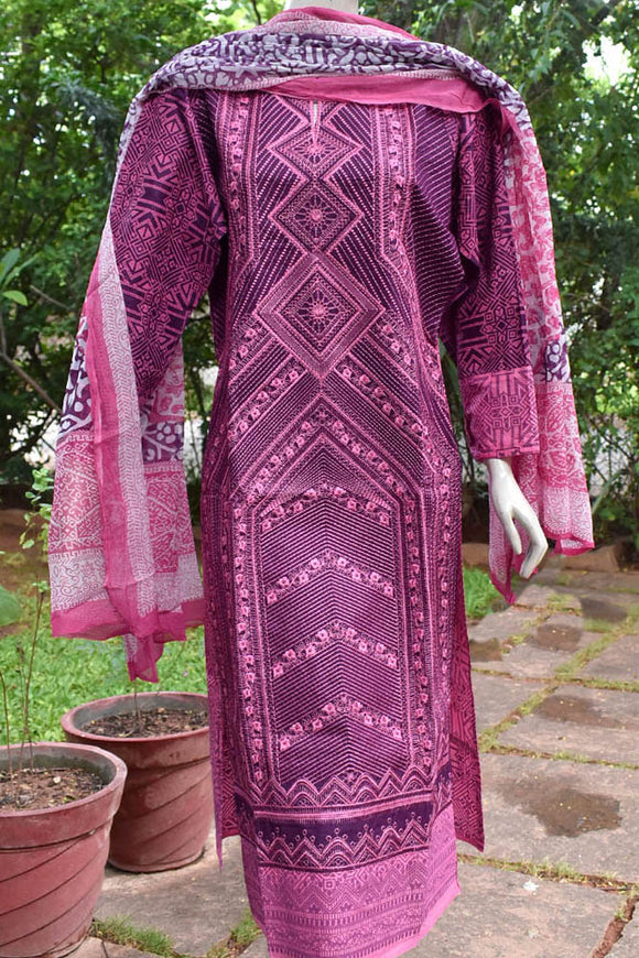 Semi Stitched Cotton  Suit with Embroidery