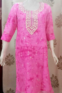 Elegant Kota Silk kurta with Hand embroidered Pitta & gota work - Size 44