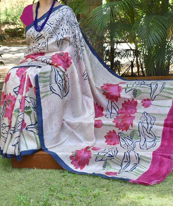 Hand Painted Bisnupur Silk Saree with Batik work