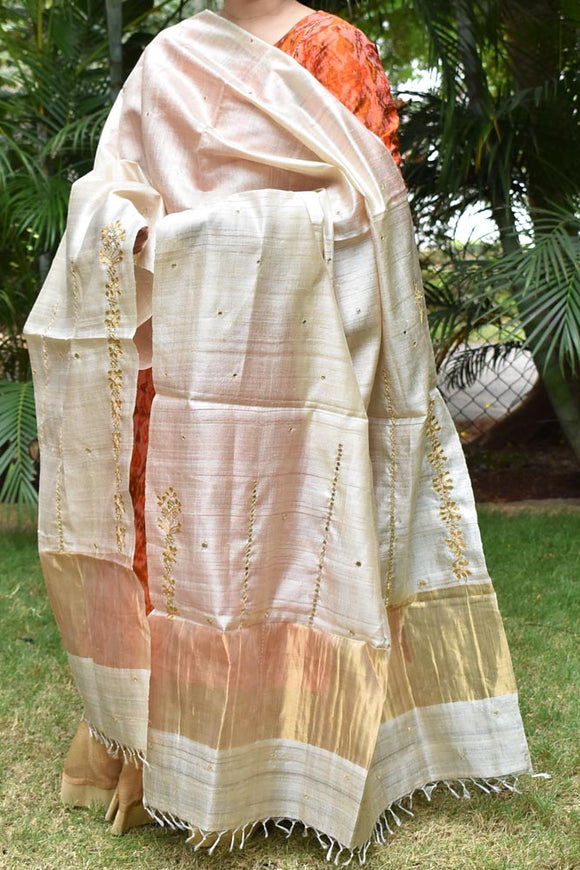 Beautiful Munga Tussar Silk dupatta with Gota patti, Aari & Mirror work