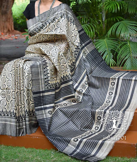 Elegant Geecha Silk Saree with Hand Block print