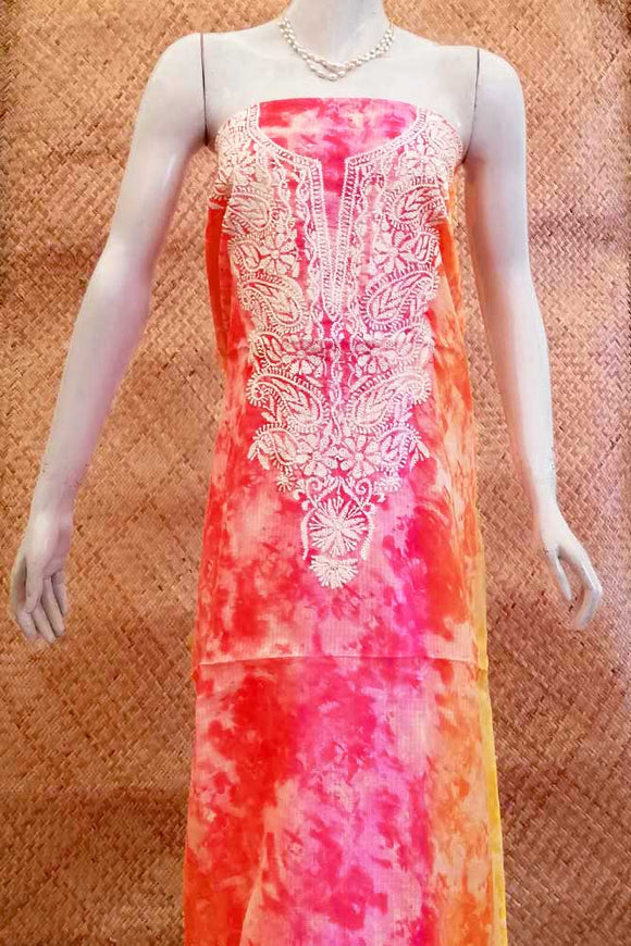 Art Kota Silk Kurta Fabric with Hand Chikankari embroidery