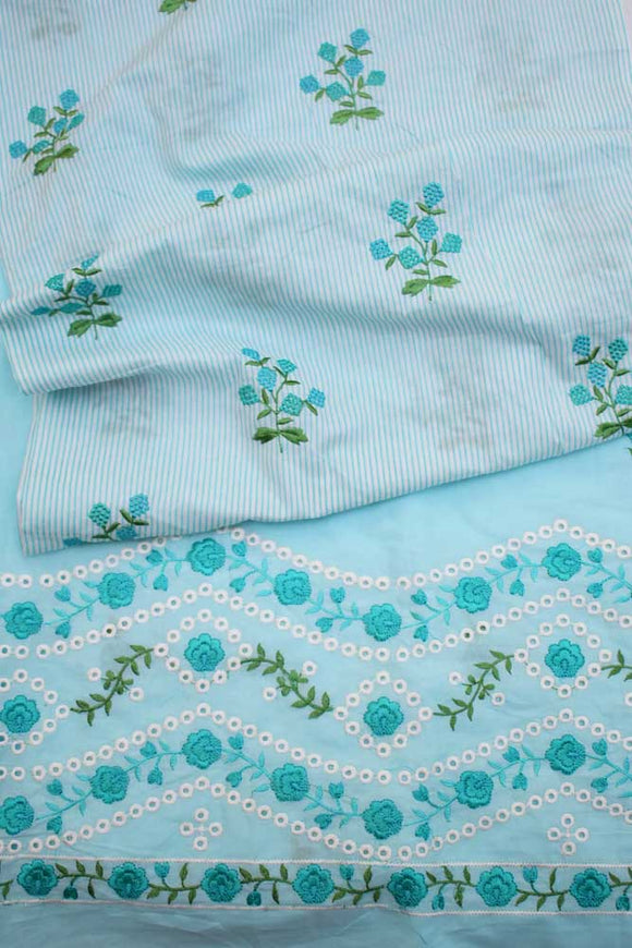 Embroidered Cotton Fabric combo ( set of 2 cut pcs)