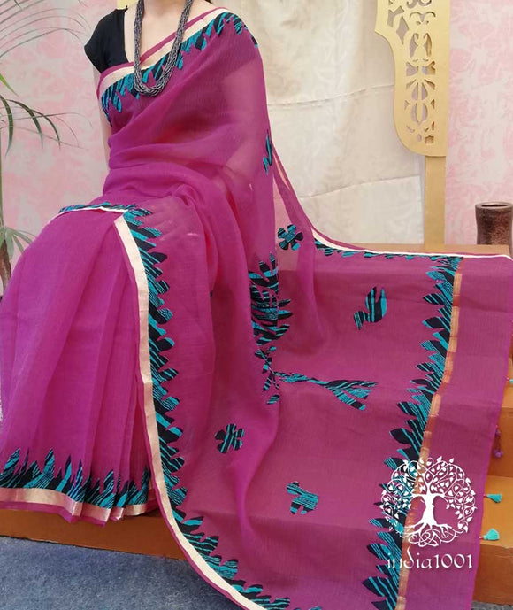 Elegant Faux Kota Saree with Hand Applique work