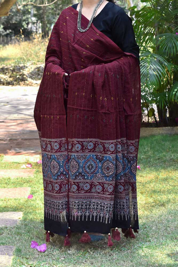 Cotton dupatta with Ajrakh print & Hand done Tagai Embroidery