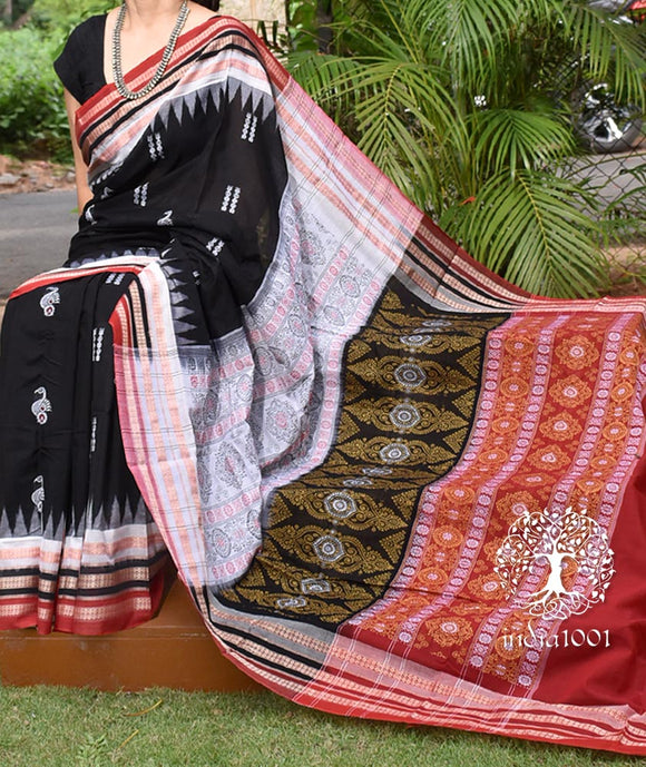 Elegant Handwoven Peacock Bomkai cotton Saree