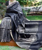 Elegant Handwoven Pure Kosa Silk Saree half and half saree with Heavy Jaal