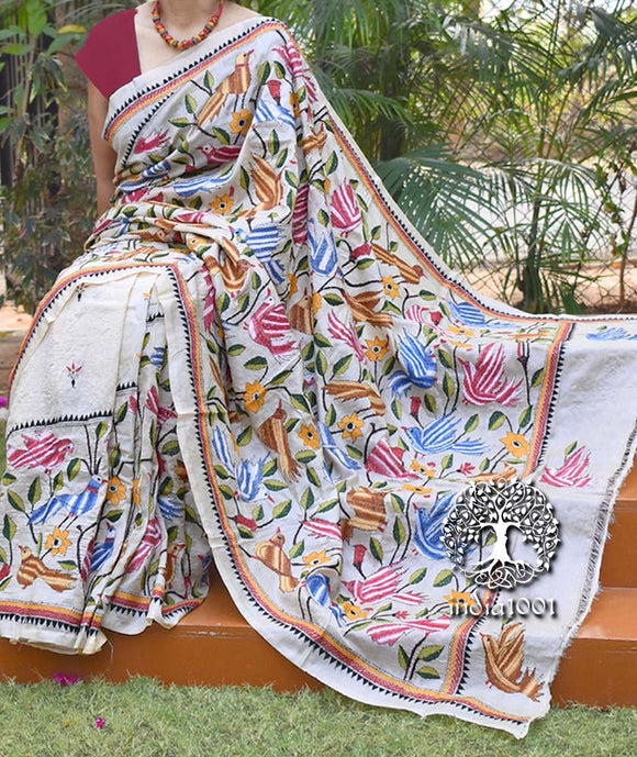 Handcrafted Tussar saree with Nakkshi Kantha stitch