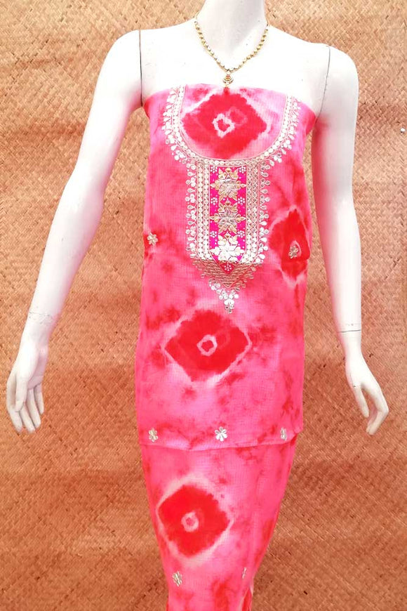 Kota Silk Kurta Fabric with Pitta  / Gota Patti Work