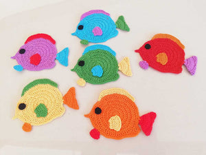 Its Fishy - Handcrafted crochet coaster ( Set of 6)