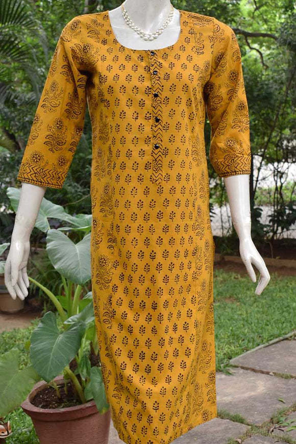 Bagh Block Printed Cotton Long Kurta - size 40
