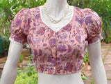 Block Printed cotton Blouse with Lace  - Size 36 , 38 , 40 , 42 , 44