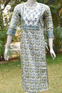 Block Printed Cotton Kurta with gota work & sequins