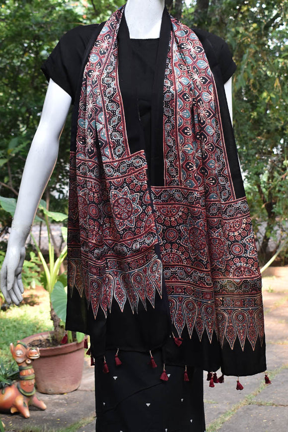 Beautiful Modal Si-co Ajrakh stole with Tassels