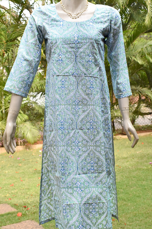 Block Printed Cotton Kurta with embroidery & sequins