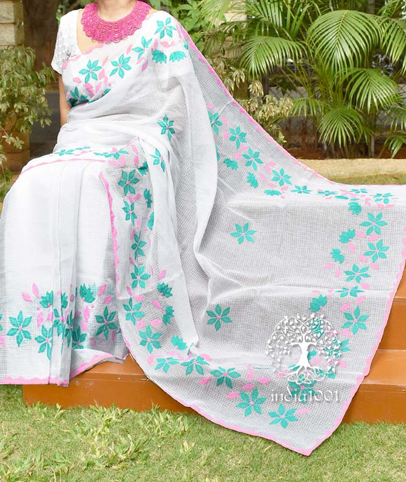 Elegant Kota cotton saree with Hand Applique Phool Patti work