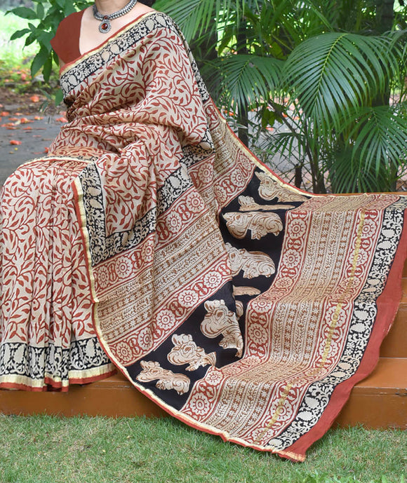 Elegant Chanderi Saree with Bagru Hand Block Printing