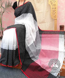 Elegant Bengal Cotton Saree with check borders and contrast palla